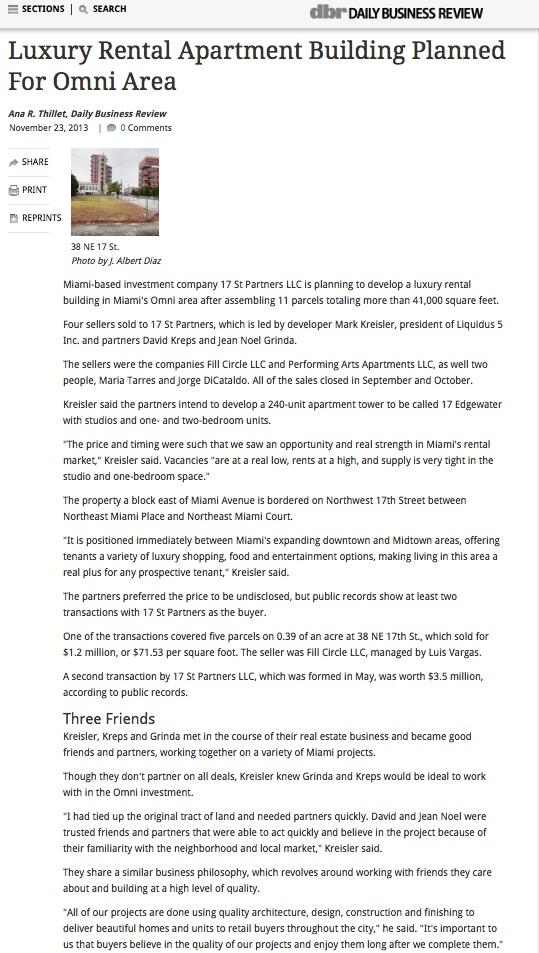 Luxury rental building project - interview